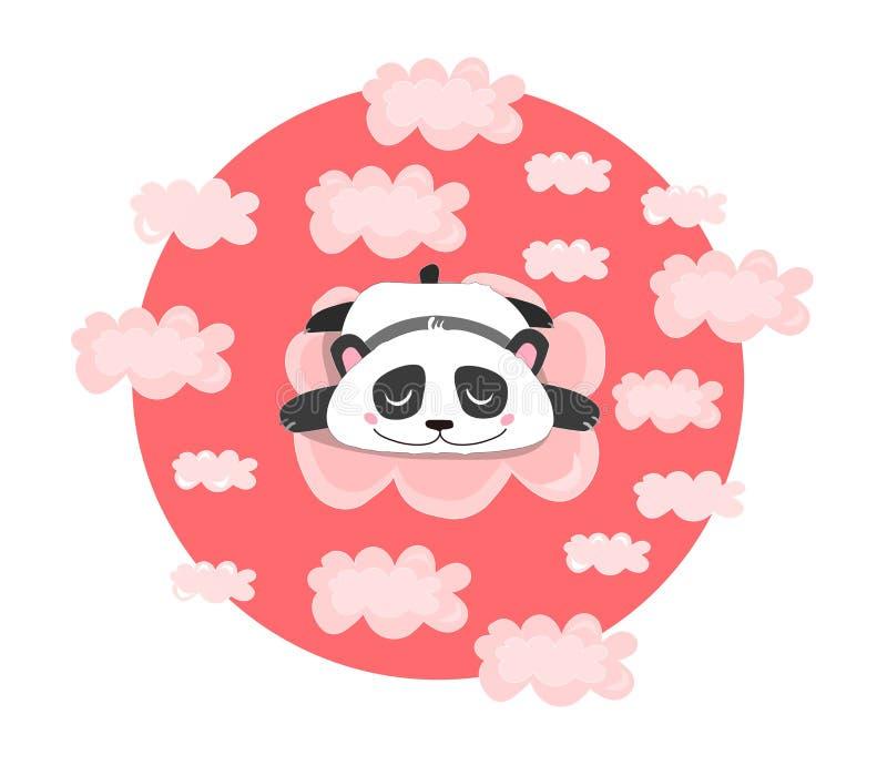 Vektorillustration med att sova eller att drömma pandan i rosa moln Behandla som ett barn barn, kawaiitryck vektor illustrationer