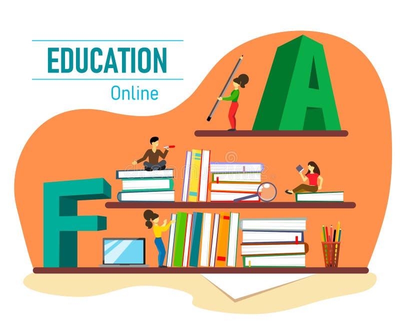 Vektorillustration med böcker, bärbara datorn och tecken för online-utbildning royaltyfri illustrationer