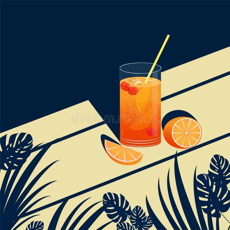 Vektorillustration med bilden av en uppfriskande drink- eller fruktcoctail på en tropisk bakgrund royaltyfri illustrationer