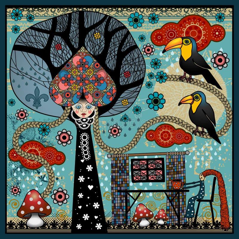 Vektorillustration med blommor, champinjoner och fåglar royaltyfri illustrationer