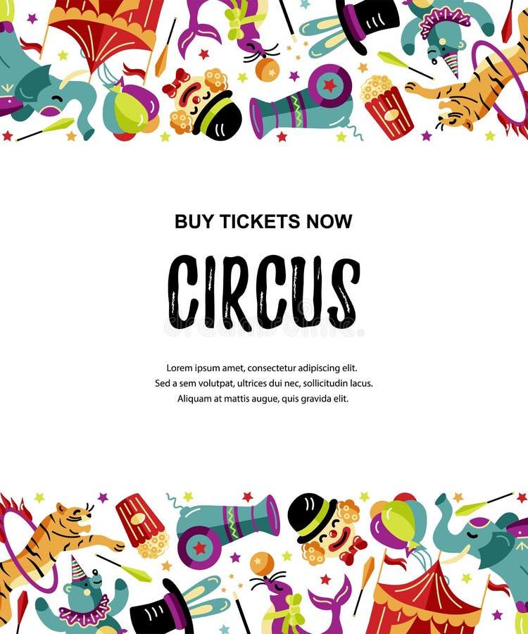 Vektorillustration med cirkusdjur, clowner och trollkarlar royaltyfri illustrationer