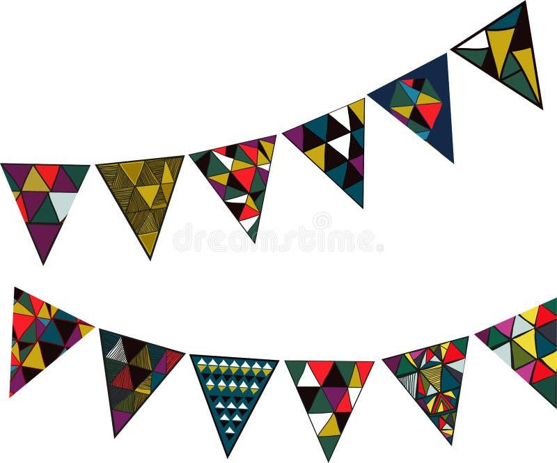 Vektorillustration med dekorativa celebratory flaggor för partier och ferier vektor illustrationer