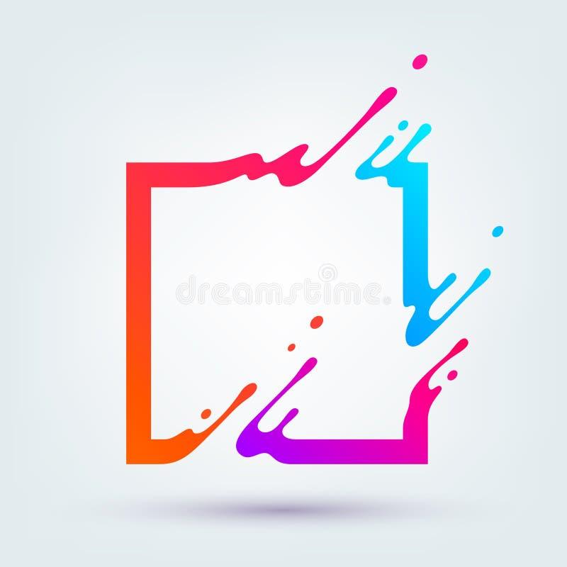 Vektorillustration med den abstrakta färgrika fyrkanten stock illustrationer