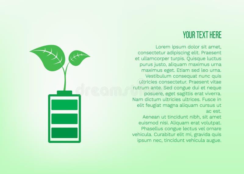 Vektorillustration med den gröna växten för tillväxt på batteriet och stället för text på grön bakgrund royaltyfri illustrationer