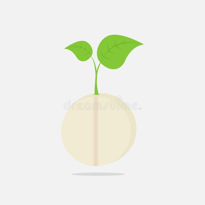 Vektorillustration med den gröna växten för tillväxt på piller i plan design royaltyfri illustrationer