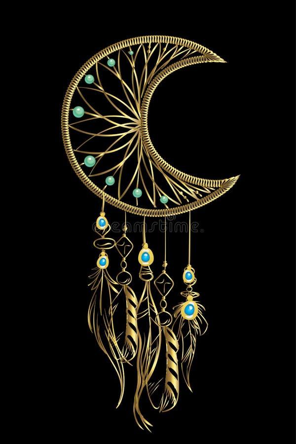 Vektorillustration med den guld- lyxdrömstopparen med fjädrar och juvlar på en svart bakgrund Utsmyckade etniska objekt, fjädrar vektor illustrationer