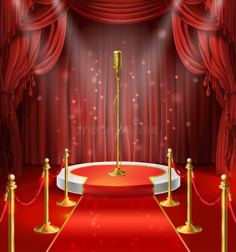 Vektorillustration med den guld- mikrofonen på etapp royaltyfri illustrationer