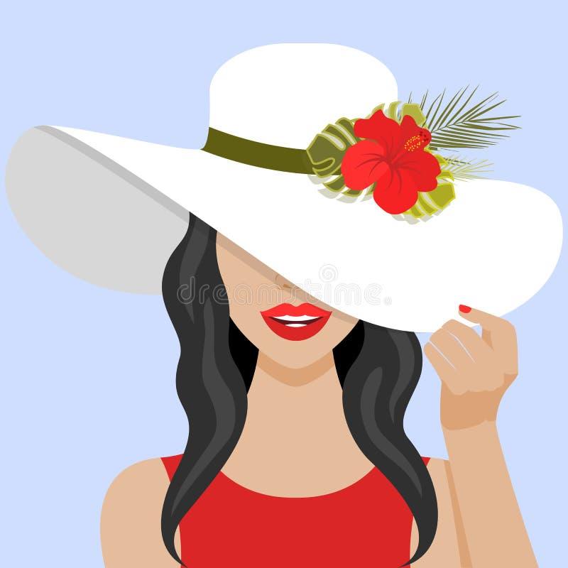 Vektorillustration med den härliga kvinnan med hatten stock illustrationer