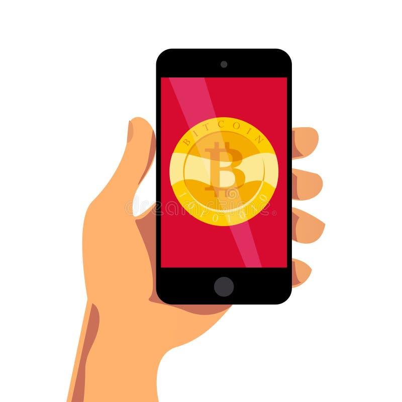 Vektorillustration med den hållande smartphonen för mänsklig hand som har det guld- myntet med bitcoinemblemet på dess skärm på v royaltyfri illustrationer