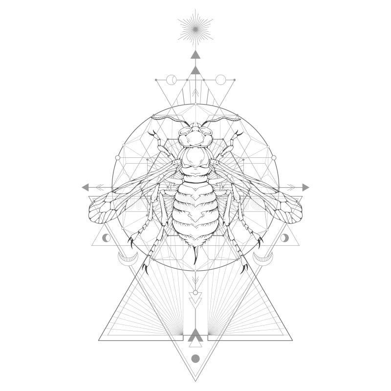 Vektorillustration med den hand drog getingen och sakralt geometriskt symbol p? vit bakgrund Abstrakt mystikertecken vektor illustrationer