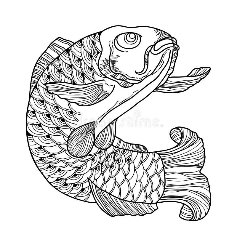 Vektorillustration med den hand drog karpen för översiktssvartkoi som isoleras på vit bakgrund Japansk utsmyckad fisk i kontursti vektor illustrationer