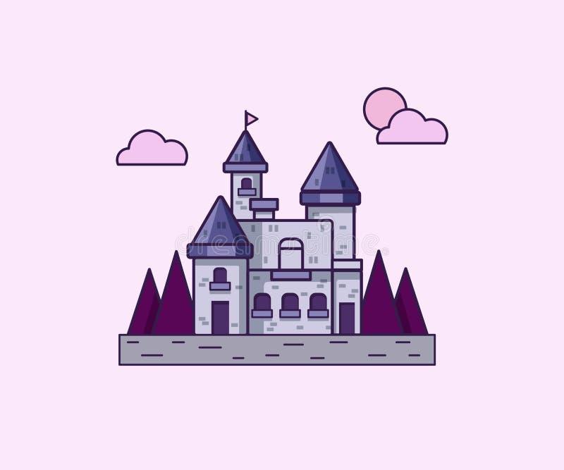 Vektorillustration med den lila slotten royaltyfri illustrationer