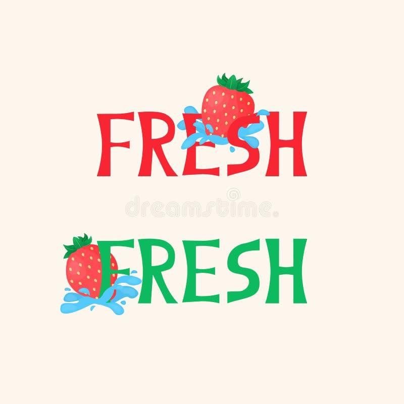 Vektorillustration med den ljusa jordgubben, vattenfärgstänk och ny ` för text`, royaltyfri illustrationer
