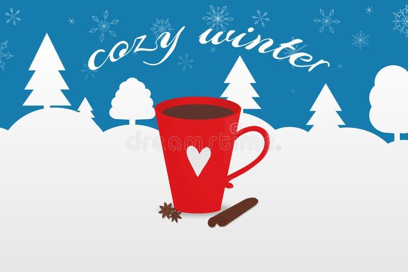 Vektorillustration med den röda koppen av kakao och inskriften 'hemtrevlig vinter ', Vinterskog och kullar på bakgrunden royaltyfri fotografi