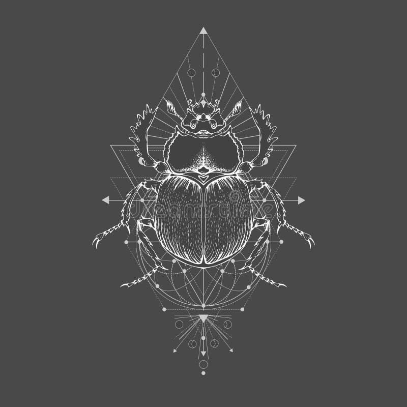 Vektorillustration med den utdragna skarabé för hand och sakralt geometriskt symbol på svart tappningbakgrund Abstrakt mystikerte vektor illustrationer