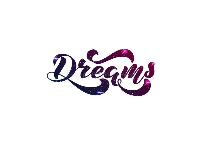 Vektorillustration med det handskrivna uttrycket - drömmar bokst?ver royaltyfri illustrationer