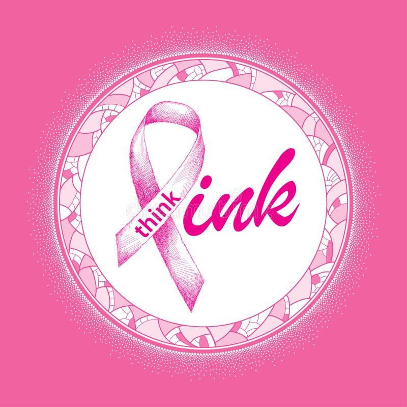 Vektorillustration med det rosa bandet på vit i mosaikrundaramen Elegansdesign för den vård- aktionen för kvinna stock illustrationer