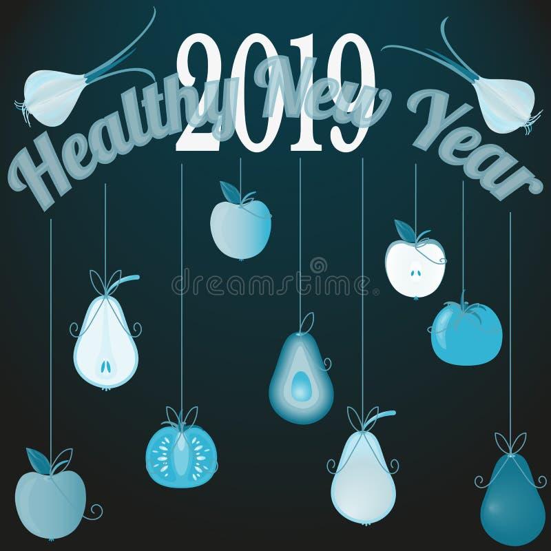 Vektorillustration med det sunda nya året 2019 för lyckönsknings- bakgrund stock illustrationer