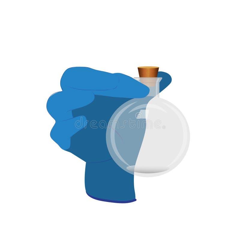 Vektorillustration med en behandskad hand som rymmer en rund flaska vektor illustrationer