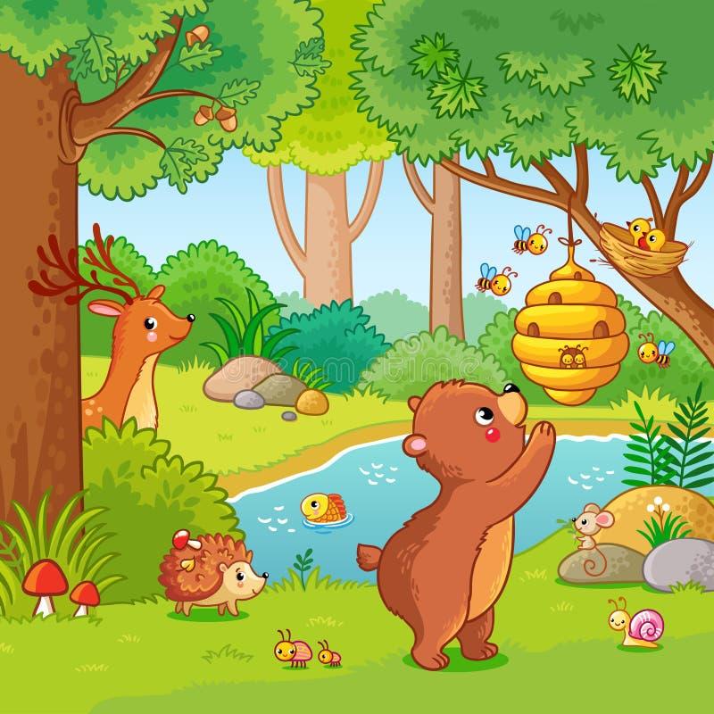 Vektorillustration med en björn som önskar honung stock illustrationer