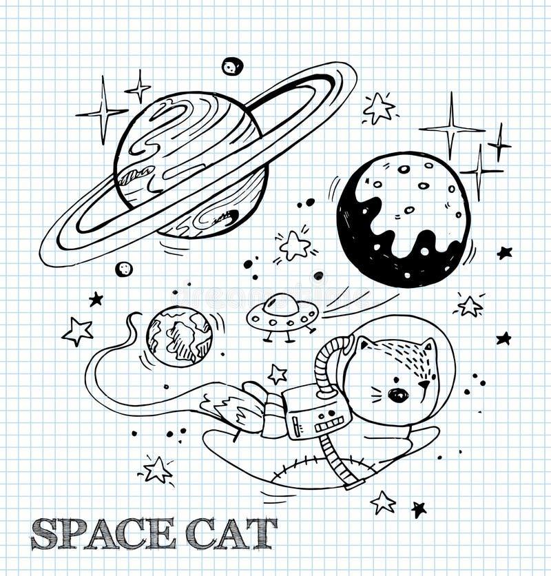 Vektorillustration med en rolig katt i en spacesuit Kattastronaut som skjuta i höjden i utrymme Komisk stilillustration stock illustrationer