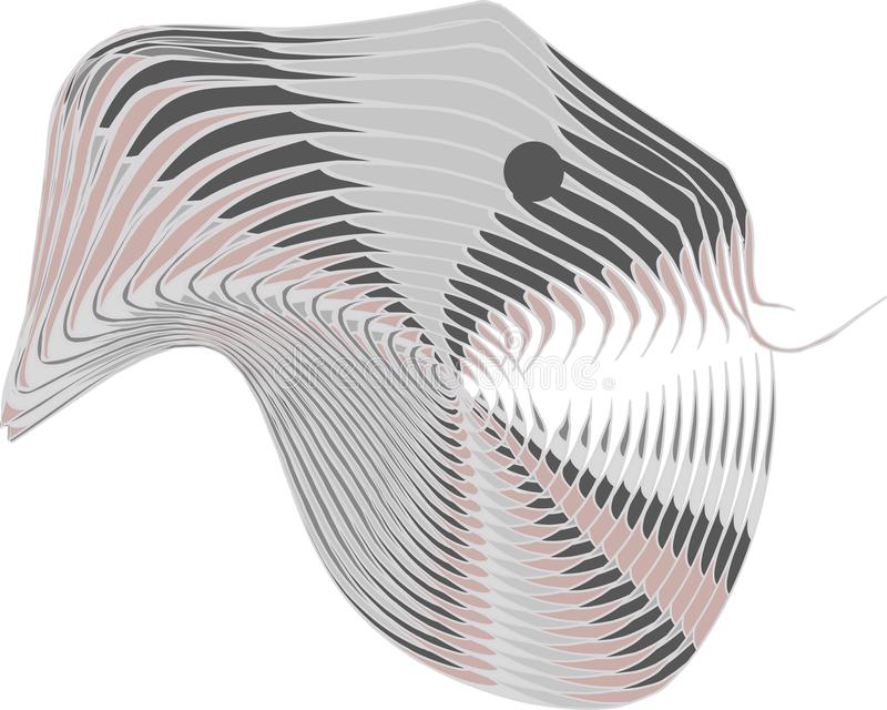 Vektorillustration med ett främmande huvud för ReptilianHumanoid med ormtungan För klistermärke affisch, baner, t-skjorta tryck,  royaltyfri illustrationer