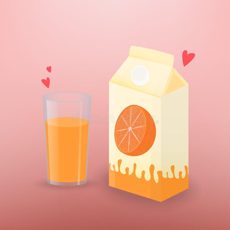Vektorillustration med exponeringsglas av orange fruktsaft och brädeasken av fruktsaft vektor illustrationer