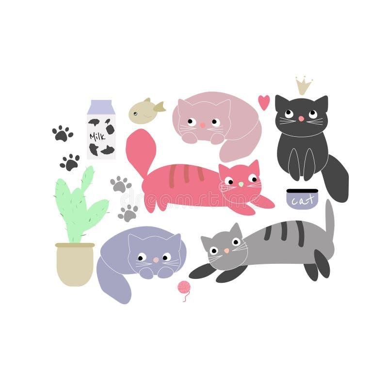 Vektorillustration med förtjusande roliga katter Enkel plan stil royaltyfri illustrationer