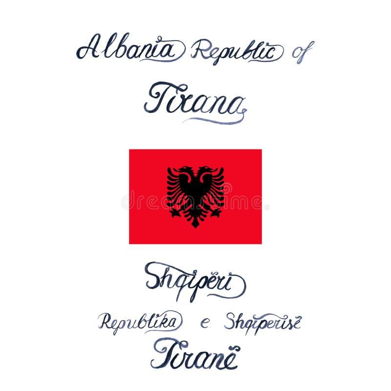 Vektorillustration med flaggan av Albanien och ord i engelska och albanian språk stock illustrationer