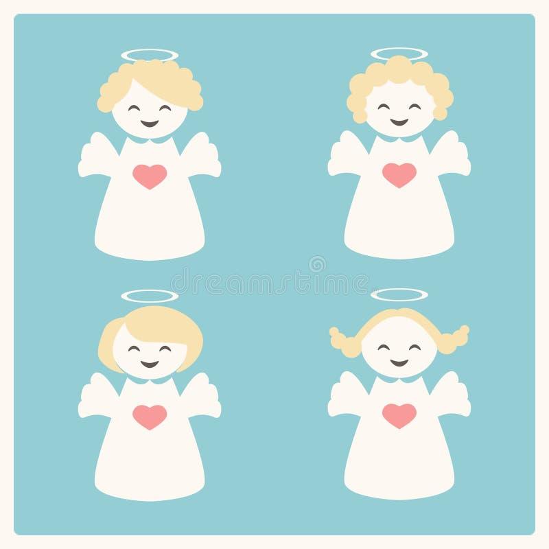 Vektorillustration med fyra änglar vektor illustrationer