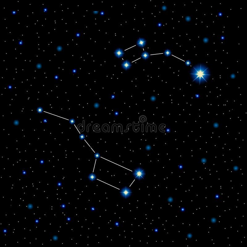 Vektorillustration med glänsande stjärnor och konstellationer i natthimlen stock illustrationer