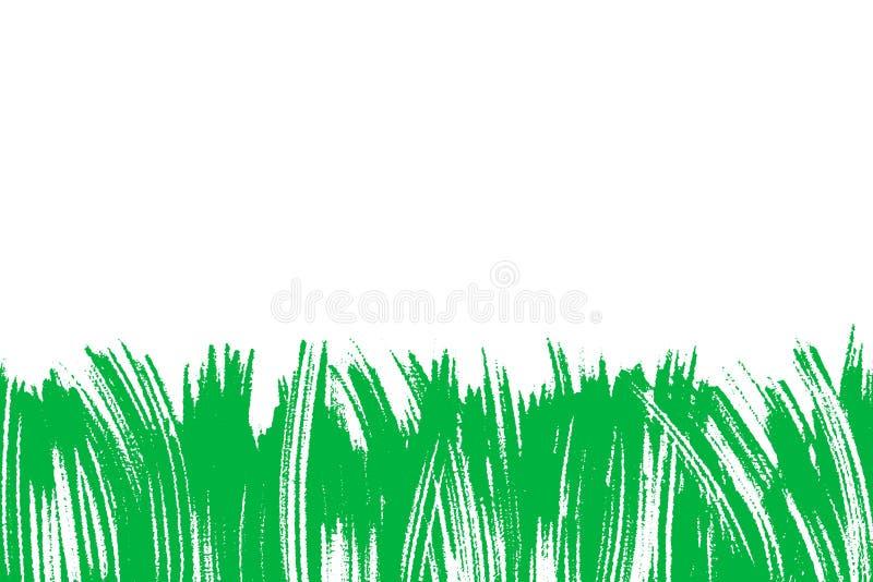 Vektorillustration med grönt målat gräs, konstnärlig botanisk bakgrund, isolerad blom- abstrakt beståndsdel, hand vektor illustrationer
