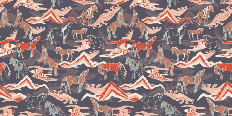 Vektorillustration med hästar royaltyfri illustrationer