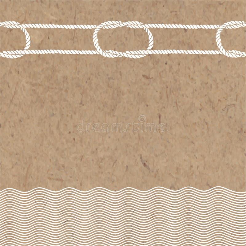 Vektorillustration med havsbeståndsdelar och ställe för text på en kraft bakgrund royaltyfri illustrationer