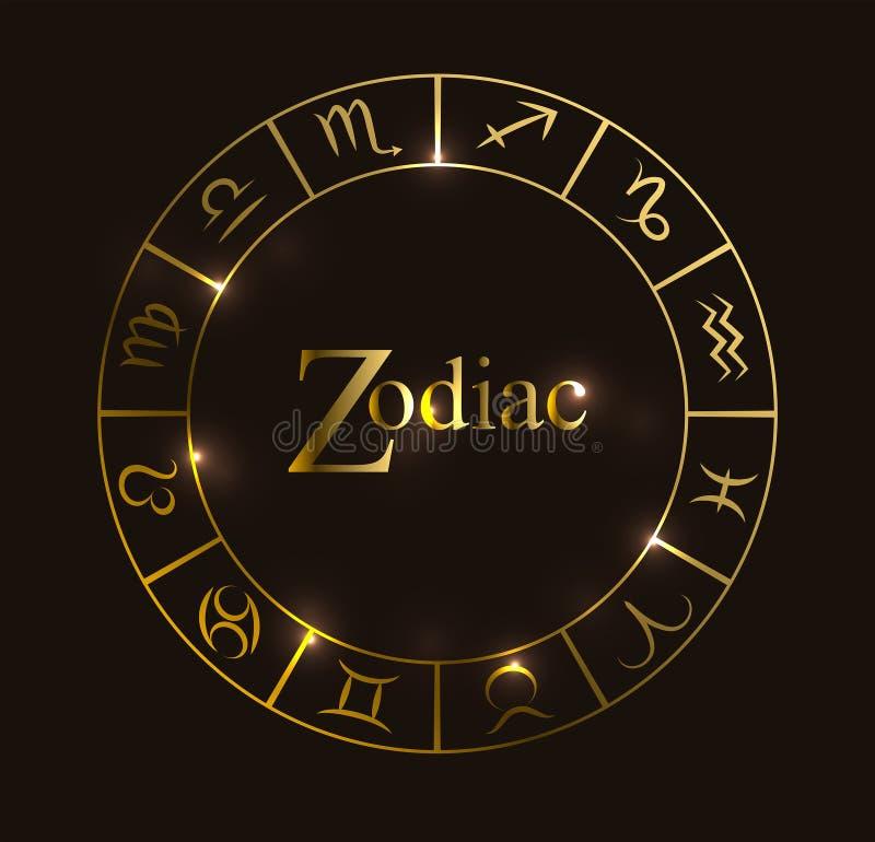 Vektorillustration med horoskopcirkeln, zodiaksymboler och abstrakta beståndsdelar Guld- beståndsdelar stock illustrationer