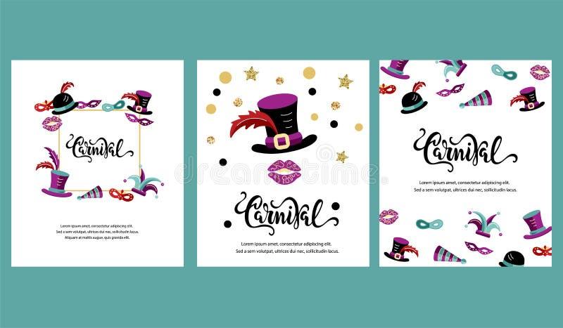 Vektorillustration med karneval och celebratory objekt stock illustrationer