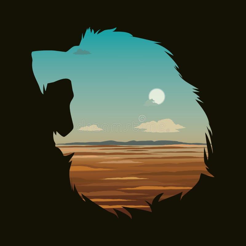 Vektorillustration med lejonhuvudet och effekt för dubbel exponering vektor illustrationer