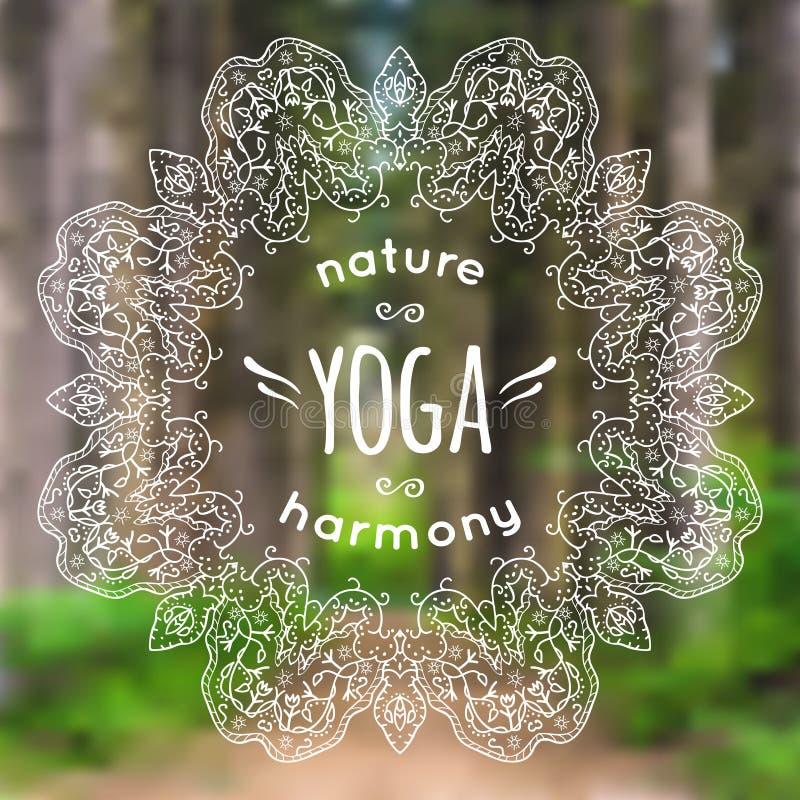 Vektorillustration med mandalaen och yogaetikett på suddig natur stock illustrationer
