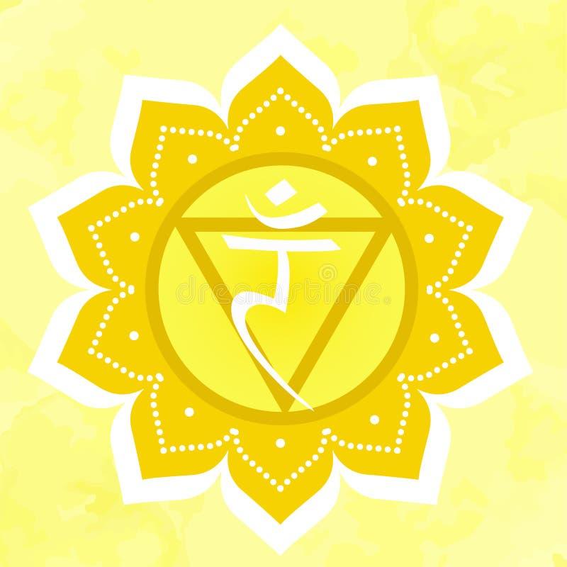 Vektorillustration med manipurachakrasymbol på gul bakgrund stock illustrationer