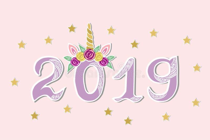 Vektorillustration med 2019 och Unicorn Tiara som vykortet för lyckligt nytt år stock illustrationer