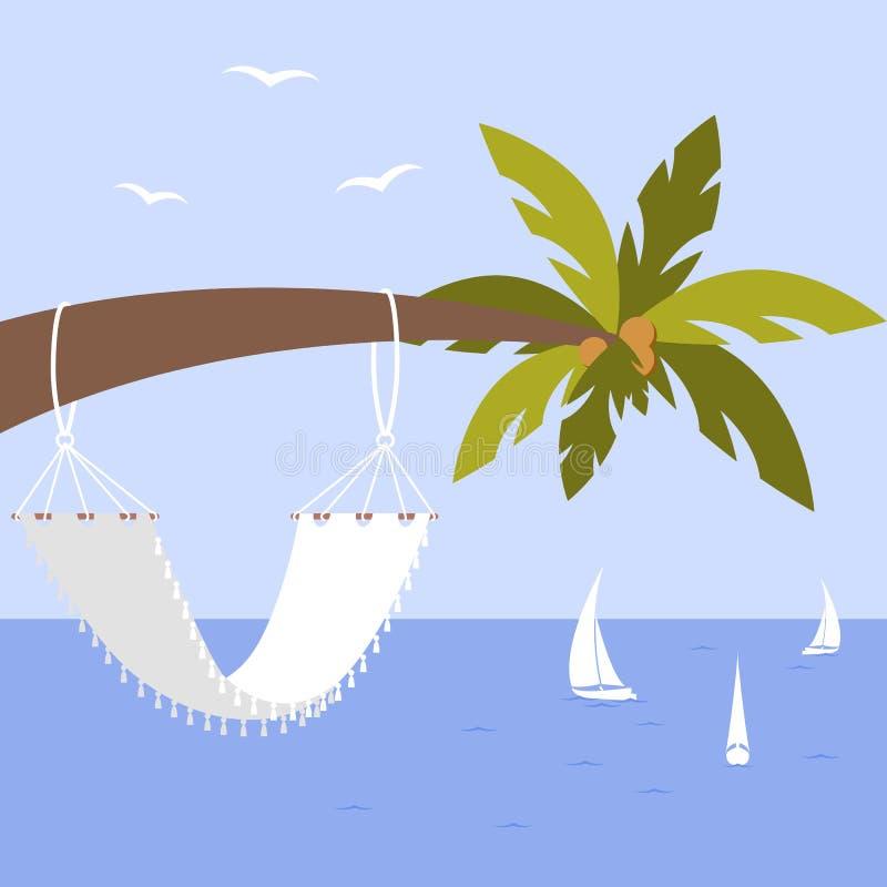 Vektorillustration med palmträdet, hängmattan och yachten, seagulls vektor illustrationer
