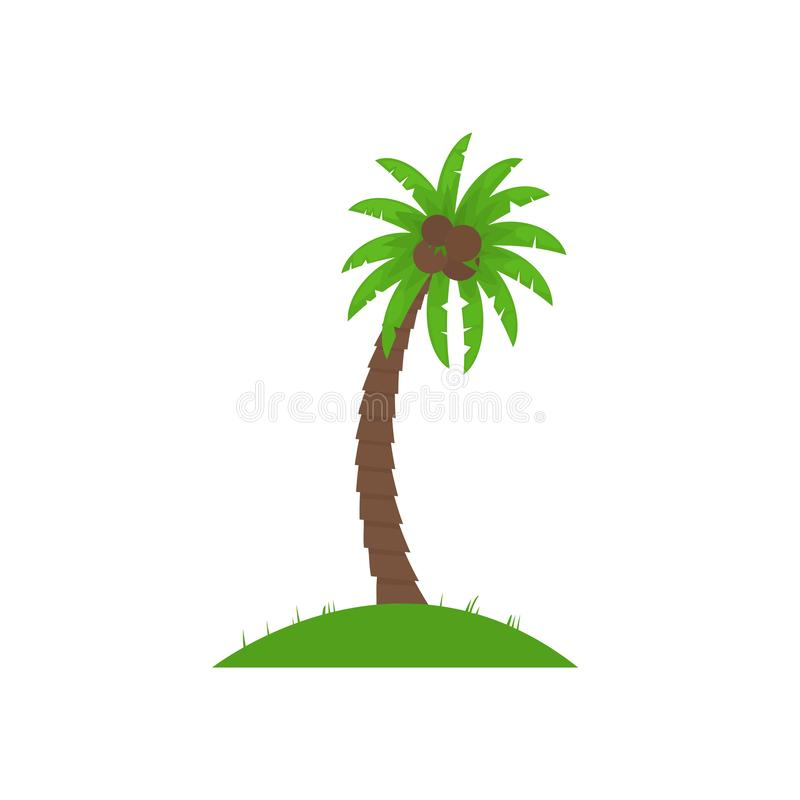 Vektorillustration med palmträdet som isoleras på vit bakgrund Tecknade filmen gömma i handflatan på litet stycke av land vektor illustrationer