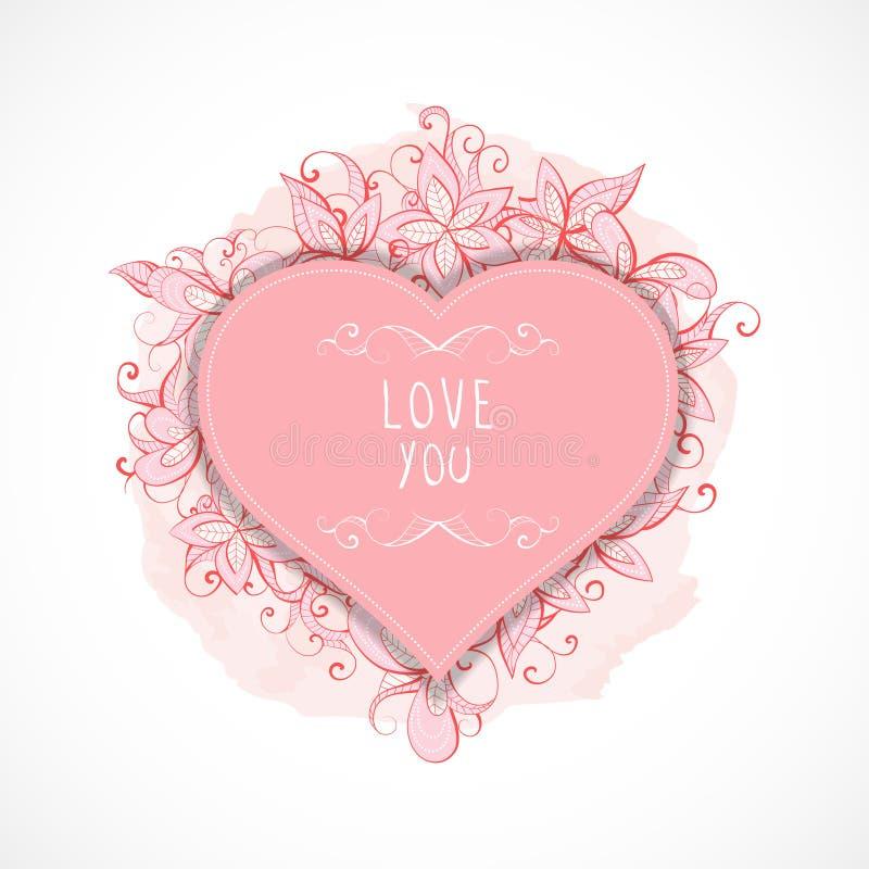 Vektorillustration med ramar i hjärtaform, blom- och vattenfärgbeståndsdelar och hand dragen inskriftförälskelse dig stock illustrationer