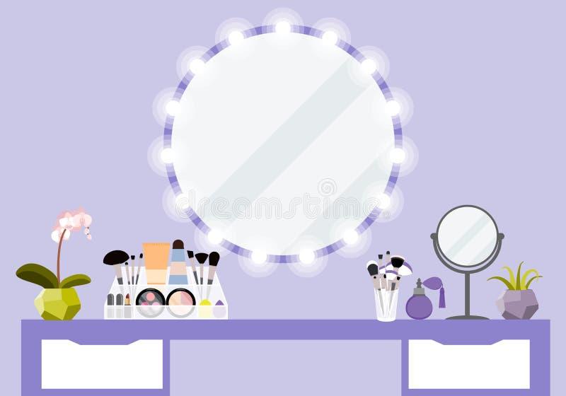 Vektorillustration med sminktabellen, spegeln och skönhetsmedelprodukten vektor illustrationer