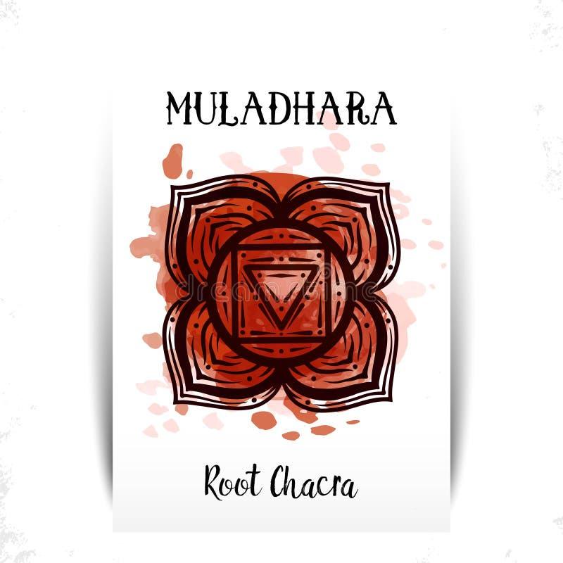 Vektorillustration med symbolchakraen Muladhara och vattenf?rgbest?ndsdel p? vit bakgrund Drog cirkelmandalamodell och hand vektor illustrationer