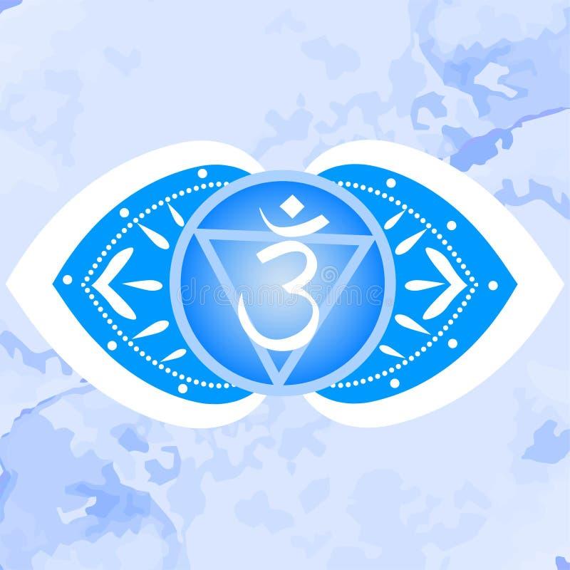 Vektorillustration med symbolet Ajna - chakra f?r tredje ?ga p? dekorativ bakgrund Cirkelmandalamodell royaltyfri illustrationer