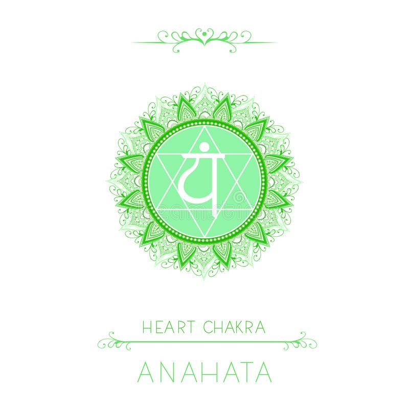 Vektorillustration med symbolet Anahata - hjärtachakra och dekorativa beståndsdelar på vit bakgrund stock illustrationer