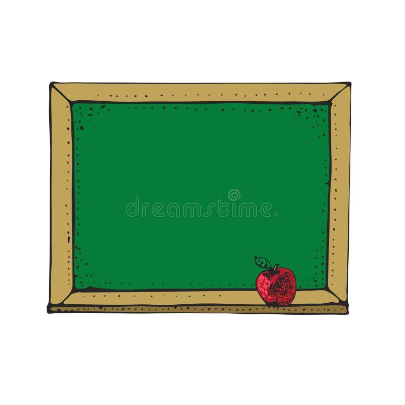 Vektorillustration med tecknad filmgräsplansvart tavla, svart tavla med det röda äpplet som isoleras på vit tillbaka designelemen vektor illustrationer