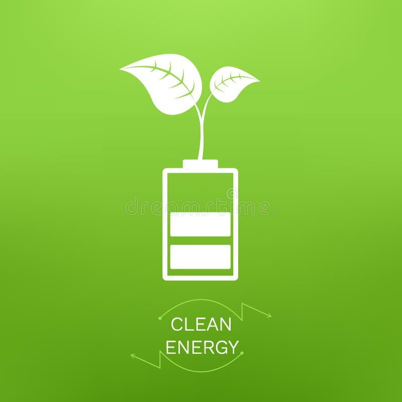 Vektorillustration med tillväxtväxten på ren energi för batteri och för text på grön bakgrund stock illustrationer