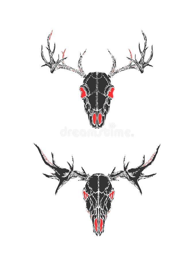 Vektorillustration med utdragna skallar för hand av hjortar på vit bakgrund Svarta och röda konturer stock illustrationer